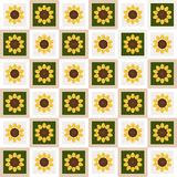 Abstract Floral Pattern Background With Colorful Squares And Sunflowers Royalty Free Stock Photos