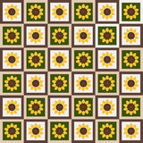 Abstract Floral Pattern Background With Colorful Squares And Sunflowers Stock Photo