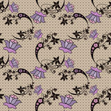 Abstract floral pattern on beige Royalty Free Stock Image