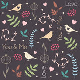 Abstract floral pattern with birds, hearts, leaves of trees, flowers and berries. Romantic seamless vector pattern for Valentine's Royalty Free Stock Images