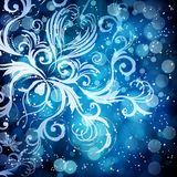 Abstract floral pattern on a blue background. Abstract floral pattern on a blue background, made of transparent rays, stars, bokeh. Magical fantasy flowers Stock Illustration