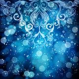 Abstract floral pattern on a blue background, made of transparen Royalty Free Stock Image
