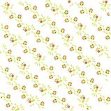 Abstract floral pattern on a diagonal. Light green and brown leaves and birds, red flowers on white, summer Stock Images