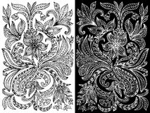 Abstract floral pattern ink Stock Image