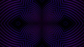 Abstract floral pattern of neon lines. Animation. Beautiful centralized pattern of flower of pulsing lines of neon vector illustration
