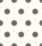Abstract floral pattern. Seamless  background. Black and white ornament. Graphic modern pattern. Royalty Free Stock Images
