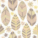 Abstract floral pattern. Seamless  background with decorative leaves and flowers in pastel colors. Stock Photos