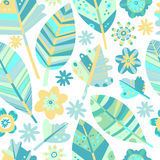 Abstract floral pattern. Seamless  background with decorative leaves and flowers. Stock Photography