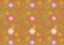 Abstract floral pattern. Seamless pattern with flowers and shapes Stock Photo