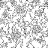 Abstract floral pattern. Abstract floral seamless pattern on white background Royalty Free Stock Images