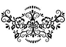 Abstract floral pattern, vector wicker ornament. Black ornate tracery in eastern style with a lot of curls and many details, arabe. Sque, print for fabric Royalty Free Stock Images