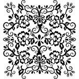 Abstract floral pattern, vector wicker ornament. Black ornate tracery in eastern style with a lot of curls and many details, arabe. Sque, print for fabric Royalty Free Stock Photos