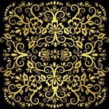 Abstract floral pattern, vector wicker ornament. Gold ornate tracery in eastern style with a lot of curls, arabesque, decor elemen stock illustration