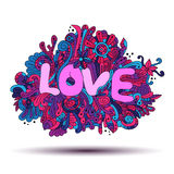 Abstract floral pattern with the word love Stock Photography