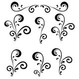 Abstract floral patterns, silhouettes. Set abstract floral patterns, black contour on white background Stock Images