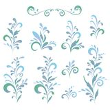 Abstract floral patterns, silhouettes. Set abstract floral patterns, green and blue silhouettes on white background Royalty Free Stock Photos