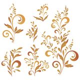 Abstract floral patterns, silhouettes. Set abstract floral patterns, red and brown silhouettes on white background Stock Photo
