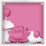 Abstract floral pink background with lotus flowers, oriental. Pattern and space for title text. Vector illustration, paper cut out art style. Layers are vector illustration