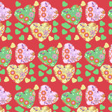 Abstract floral romantic hearts background Royalty Free Stock Photos