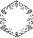 Abstract floral round frame on white background Stock Photography