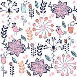 Abstract floral seamless adorable gentle elegance pattern with. Birds and seamless patterns in swatch menu, vector illustration stock illustration