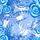 Abstract  floral seamless background. Pattern with folk art flowers, blue white gzhel ornament. Can be used for banner, card, poster, invitation, label, menu Stock Photo