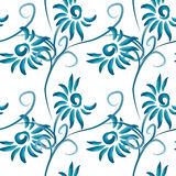 Abstract  floral seamless background. Pattern with folk art flowers, blue white gzhel ornament. Can be used for banner, card, poster, invitation, label, menu Royalty Free Stock Images