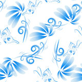 Abstract  floral seamless background. Pattern with folk art flowers, blue white gzhel ornament. Can be used for banner, card, poster, invitation, label, menu Stock Image