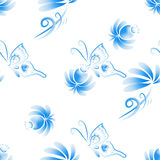 Abstract  floral seamless background. Pattern with folk art flowers, blue white gzhel ornament. Can be used for banner, card, poster, invitation, label, menu Royalty Free Stock Photo