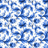 Abstract floral seamless background, pattern with folk flowers. Abstract floral seamless background, pattern with folk art flowers, blue white gzhel ornament Royalty Free Stock Image