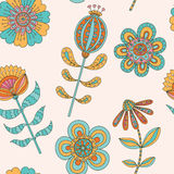 Abstract floral seamless. Hand drawn doodle. Vector illustration Stock Images