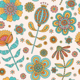 Abstract floral seamless. Hand drawn doodle. Vector illustration Stock Photography