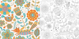 Abstract floral seamless. Hand drawn doodle Royalty Free Stock Photos