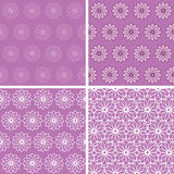 Abstract floral seamless ornaments. Set of floral seamless backgrounds Stock Image