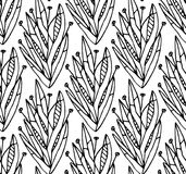 Abstract floral seamless pattern background. Hand-drawn shapes o. F leaves, flowers, plant parts composition Stock Image