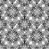 Abstract floral seamless pattern with black and white line ornam Royalty Free Stock Photos
