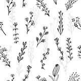Abstract floral seamless pattern with branches and flowers Royalty Free Stock Photography