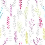 Abstract floral seamless pattern with branches and flowers Stock Photos