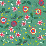 Abstract floral seamless pattern with cute colorful flowers  and Royalty Free Stock Photo