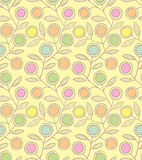 Abstract floral seamless background. Abstract floral seamless pattern with decorative flowers on a yellow background Royalty Free Stock Image
