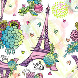 Abstract floral seamless pattern with Eiffel tower vector illustration