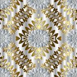 Abstract floral seamless pattern. Elegance silver background wal. Lpaper with floral gold shapes, figures, abstract white 3d flowers, frames, rhombus, and modern stock illustration