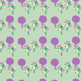 Abstract floral seamless pattern with fantasy trees and seamless Royalty Free Stock Photos