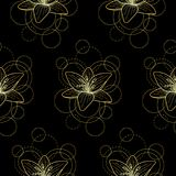 Seamless pattern with gold lily and circles on black background. Abstract floral seamless pattern with golden lily and circles on white background. Fashion Stock Image