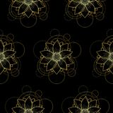Seamless pattern with gold lotus and circles on black background. Abstract floral seamless pattern with golden lotus and circles on white background. Fashion Stock Image