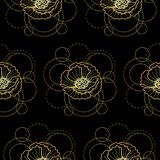 Seamless pattern with gold poppy and circles on black background. Abstract floral seamless pattern with golden poppy and circles on white background. Fashion Royalty Free Stock Photos