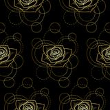 Seamless pattern with gold rose and circles on black background. Abstract floral seamless pattern with golden rose and circles on white background. Fashion Royalty Free Stock Image