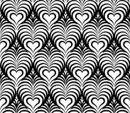 Abstract floral seamless pattern with love heart shapes Royalty Free Stock Photography