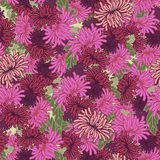 Abstract floral seamless pattern. Many flowers, like asters or c Stock Photo