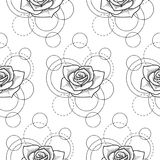 Seamless pattern with rose and circles on white background. Abstract floral seamless pattern with rose and circles on white background. Fashion background for Stock Images